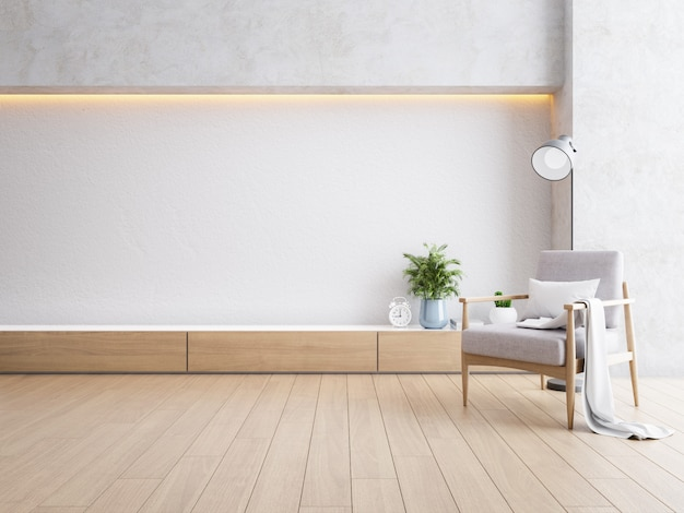 Modernes loft-interieur des wohnzimmers, holzsessel mit rückleuchte auf holzboden und weißer wand, 3d-darstellung