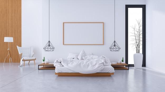 Modernes loft-interieur für schlafzimmerdesign und gemütlichen stil