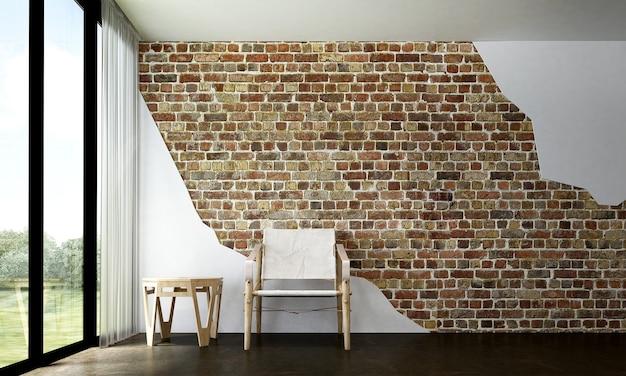 Modernes loft-wohnzimmer und backsteinmauerbeschaffenheitshintergrundinnenraum