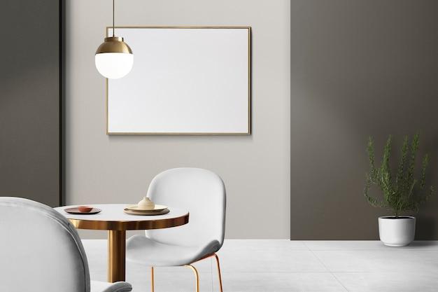 Modernes, luxuriöses, authentisches esszimmer-innendesign mit einem leeren bilderrahmen