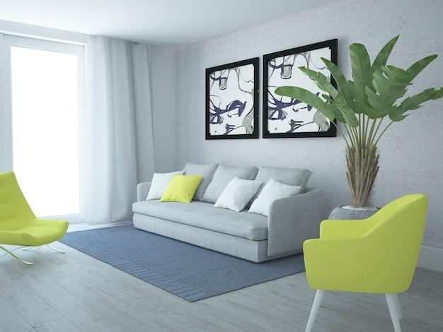 Modernes luxuriöses wohnzimmer mit gelben stühlen