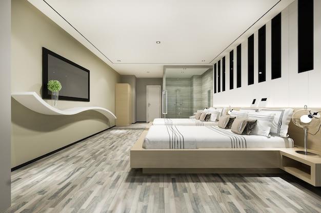 Modernes luxus-doppelbett in schlafzimmersuite und badezimmer