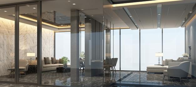 Modernes luxus-innendesign des wartezimmers mit marmorboden- und sofagarnitur 3d-rendering