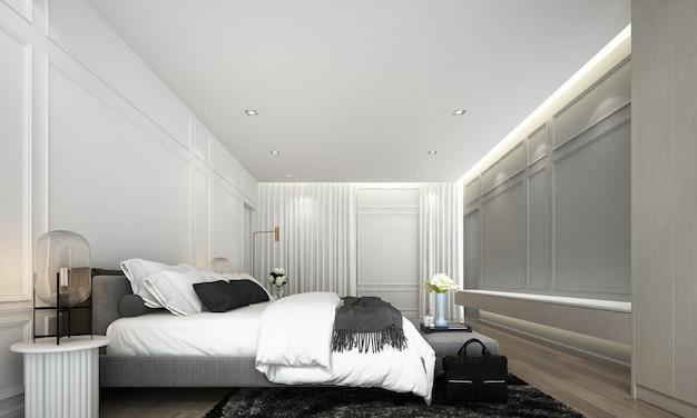 Modernes luxus-innendesign von schlafzimmer und wohnzimmer und möbeldekoration verspotten raum- und wandbeschaffenheitshintergrund