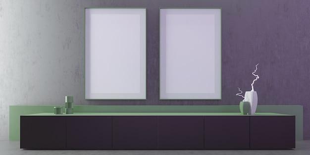 Modernes luxus-wohnzimmer interieur mit grauer wand und boden, vorderansicht 2 rahmen modell vertikales poster, tv-tisch, grüne kleine wand, kunst, dekoration, minimal. 3d-illustration.