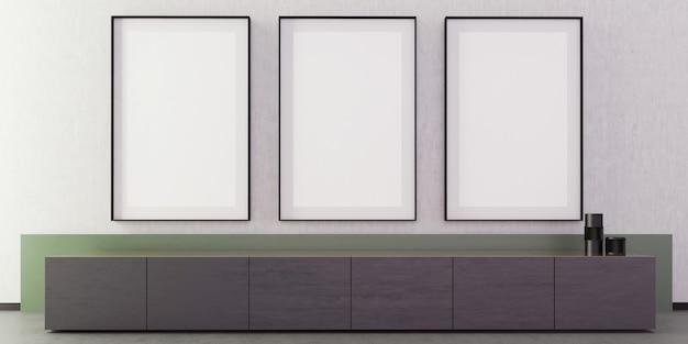 Modernes luxus-wohnzimmer interieur mit grauer wand und boden, vorderansicht baumrahmen modell vertikales poster, tisch des fernsehers, grüne kleine wand, kunst, dekoration, minimal,