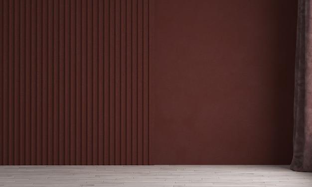 Modernes luxushaus und innenarchitektur des leeren wohnzimmers und des roten wandbeschaffenheitshintergrunds