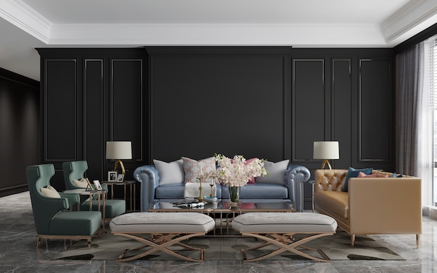 Modernes luxuswohnzimmerdesign und brauner musterwandbeschaffenheitshintergrund, wiedergabe 3d