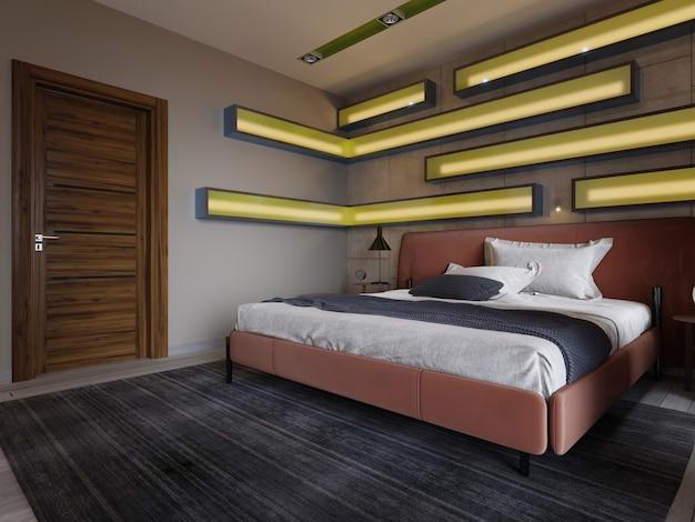 Modernes mehrfarbiges schlafzimmer mit regalen an der wand mit grüner beleuchtung unter dem milchglas, lederbett in rot mit nachttischen. 3d-rendering