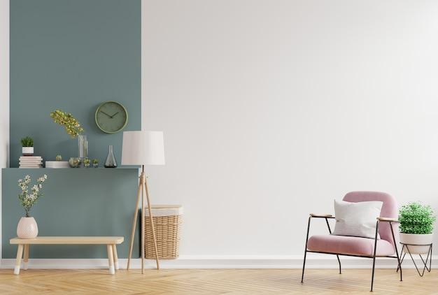 Modernes minimalistisches interieur mit einem sessel auf leerer weißer und dunkelgrüner wand, 3d-darstellung