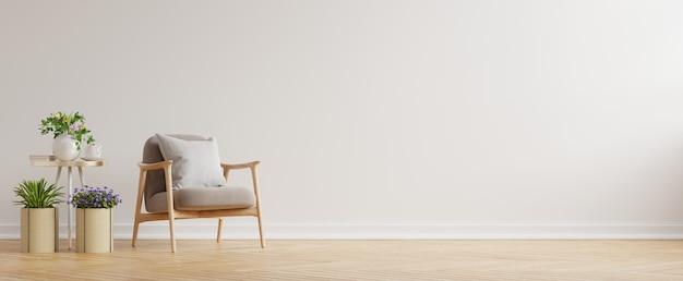Modernes minimalistisches interieur mit einem sessel auf leerer weißer wand. 3d-rendering