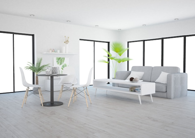 Modernes minimalistisches offenes wohnzimmer mit vielen fenstern