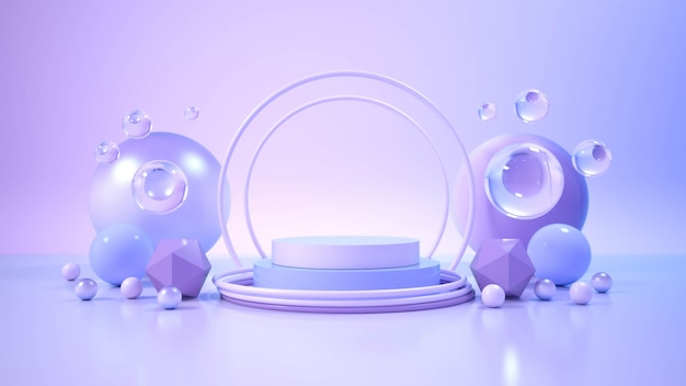 Modernes minimalistisches podiumsdisplay. Premium Fotos
