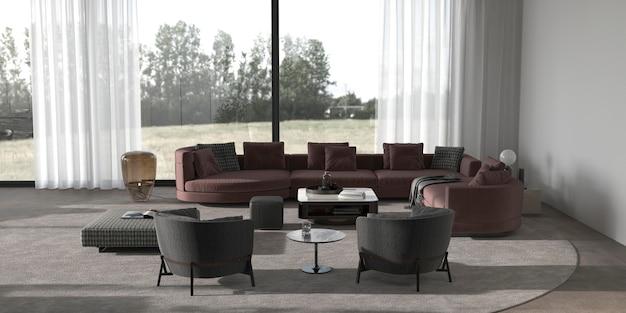 Modernes, minimalistisches wohnzimmer mit pflanzen und naturansicht 3d-render-illustration.