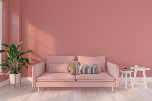 Modernes minimalistisches wohnzimmer mit rosa sofa und weißem beistelltisch, dunkelrosa wand