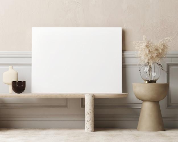 Modernes mockup-innenraum-leerplakat für die präsentation wohnzimmer mit wohnkultur