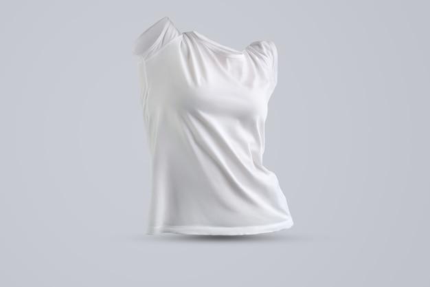 Modernes modell mit form des weißen weiblichen t-shirts ohne körper einzeln auf studiohintergrund, vorderansicht. vorlage kann für ihre vitrine verwendet werden.