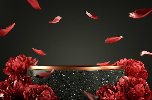 Modernes modell schwarzes roségold-podium mit rotem pfingstrosenblütenblatt-falltiefe des feldhintergrund-3d-renderings