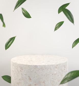 Modernes modell steinpodest mit grünem blatt fallen abteilung des feldes abstrakter hintergrund 3d render