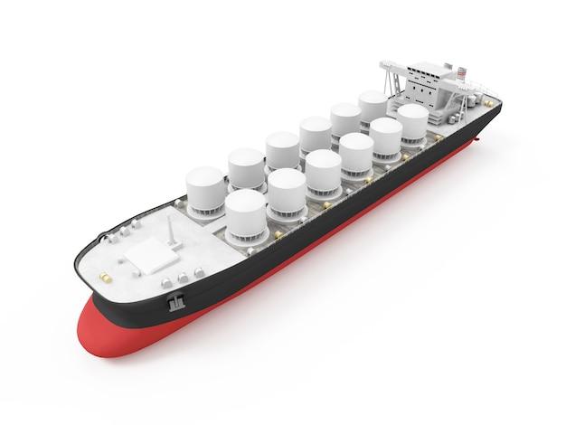 Modernes öltankerschiff lokalisiert auf weißem hintergrund. 3d-rendering