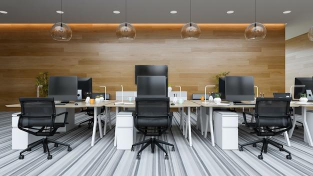 Modernes open-space-innenbüro 3d-darstellung