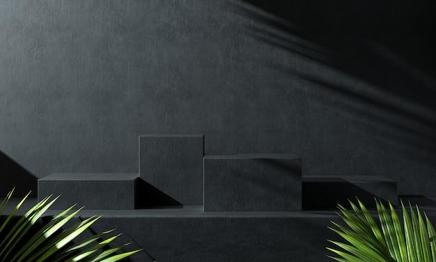 Modernes podest-set aus schwarzem beton