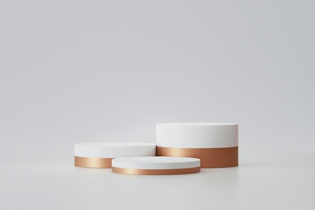 Modernes podium oder sockelanzeige mit plattformkonzept auf weißem hintergrund. leerer regalständer zum anzeigen des produkts. 3d-rendering.