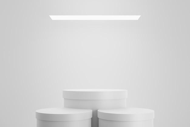 Modernes podium oder sockelanzeige mit plattformkonzept auf weißem studiohintergrund. leerer regalständer zum anzeigen des produkts. 3d-rendering.