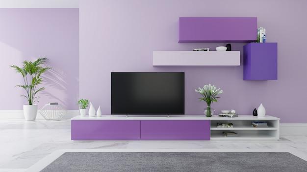 Modernes raumdesign im tv-schrank und gemütlicher wohnstil