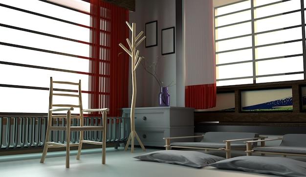 Modernes rauminnenarchitektur - japanischer stil. 3d-rendering