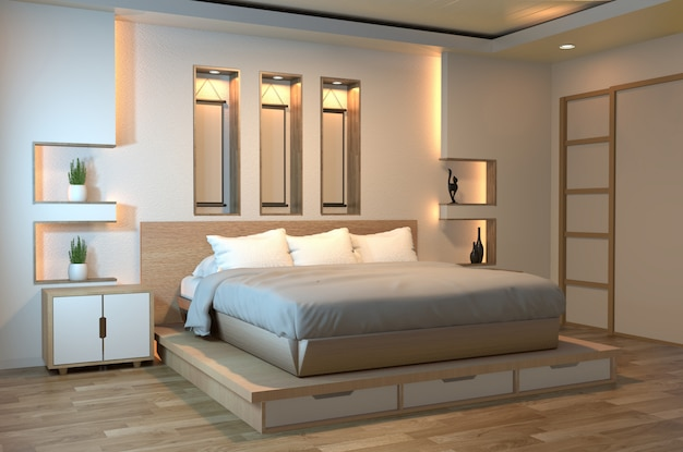 Modernes ruhiges schlafzimmer des zens