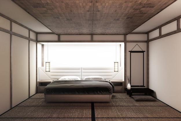 Modernes ruhiges schlafzimmer. zen-stil schlafzimmer. heiteres schlafzimmer