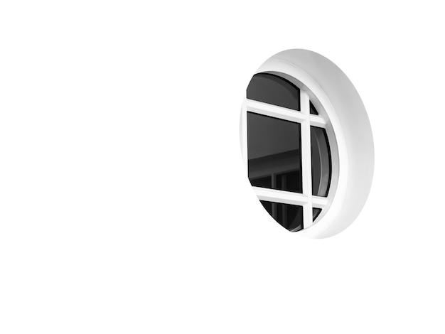 Modernes rundes fenster auf weißem sauberem außengebäude