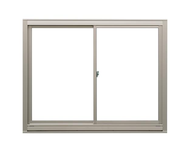 Modernes sauberes luxus-edelstahlfenster lokalisiert auf weißem hintergrund, leerer innenrahmen
