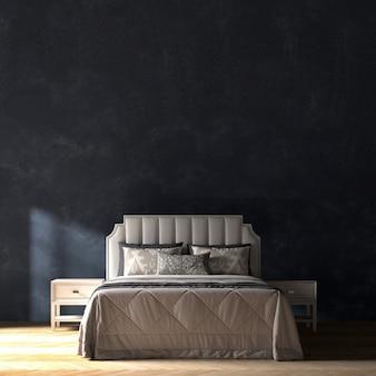 Modernes schlafzimmer und blaue wandbeschaffenheitshintergrundinnenarchitektur