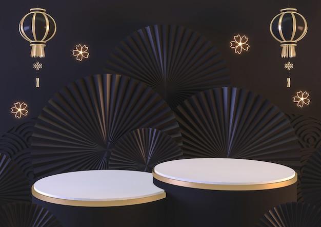 Modernes schwarzes abstraktes designpodium zeigen kosmetisches produkt geometrisch. 3d-rendering