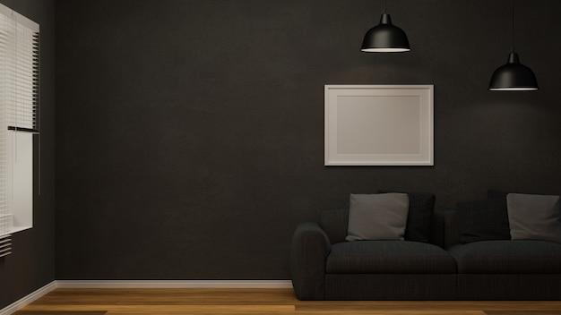 Modernes schwarzes bequemes sofa des wohnzimmers mit kissenplakatrahmenmodell auf der schwarzen tapete