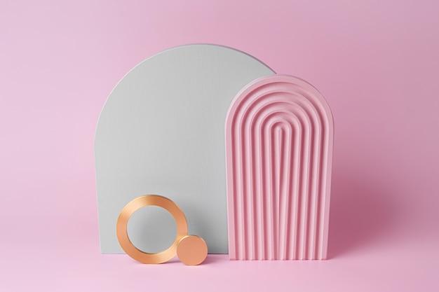 Modernes set aus verschiedenen materialien und geometrischen formen. platz kopieren. graue und rosa bögen und goldene runden auf rosa hintergrund.