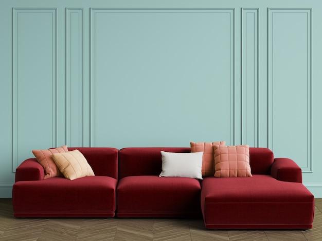 Modernes skandinavisches designsofa im innenraum. wände mit zierleisten, parkettfischgrät. kopieren sie platz, wiedergabe 3d