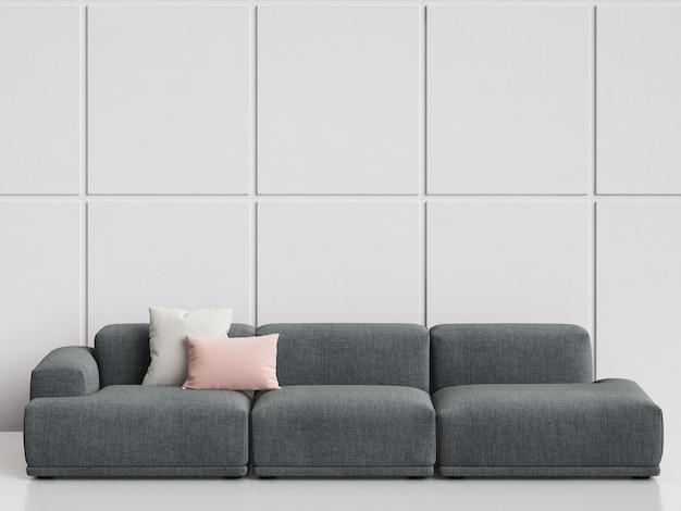 Modernes skandinavisches designsofa im weißen leeren innenraum. kopieren sie platz, wiedergabe 3d