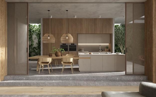 Modernes skandinavisches innendesign des minimalismus. helles studio wohnzimmer, küche und esszimmer. tisch mit geschirr, kücheninsel und grünen pflanzen. 3d-rendering. 3d-illustration.