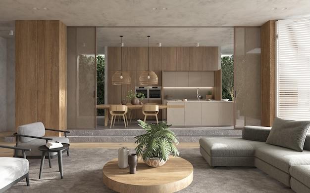 Modernes skandinavisches innendesign des minimalismus.