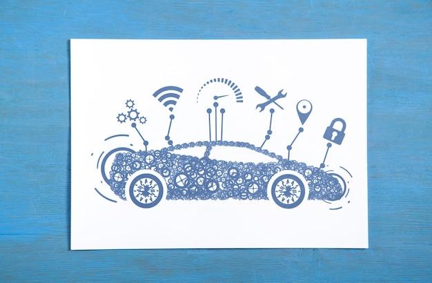 Modernes smart-auto auf dem papier