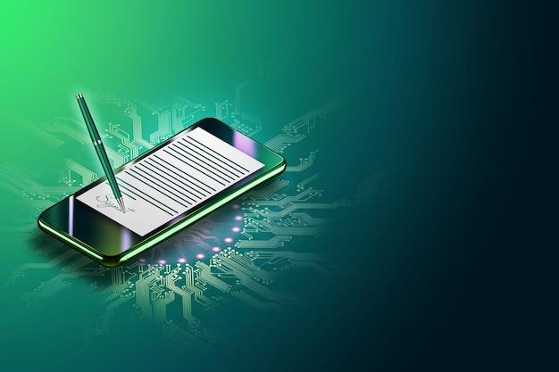 Modernes smartphone und ein hologramm eines vertrages mit elektronischer signatur. konzept für elektronische signatur, geschäft, remote-zusammenarbeit, kopierraum. gemischte medien. 3d-illustration, 3d-rendering.