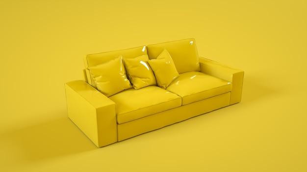 Modernes sofa lokalisiert auf gelbem hintergrund. 3d-illustration.