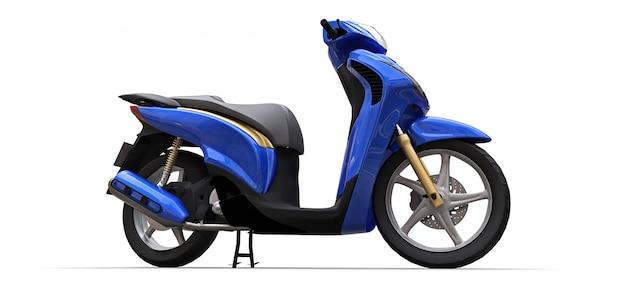 Modernes städtisches blaues moped. 3d-rendering.