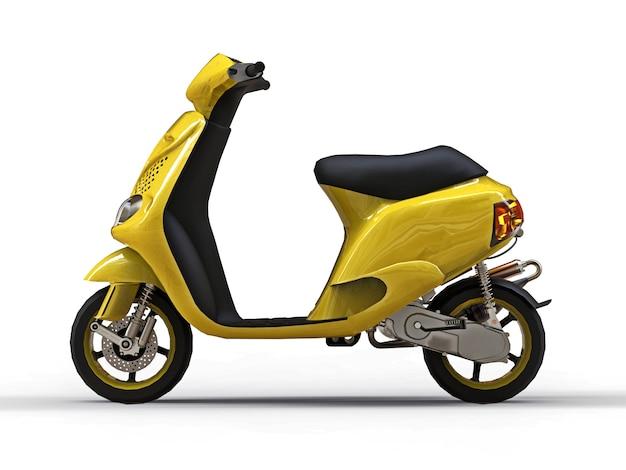 Modernes städtisches gelbes moped auf einem weißen hintergrund. abbildung 3d.
