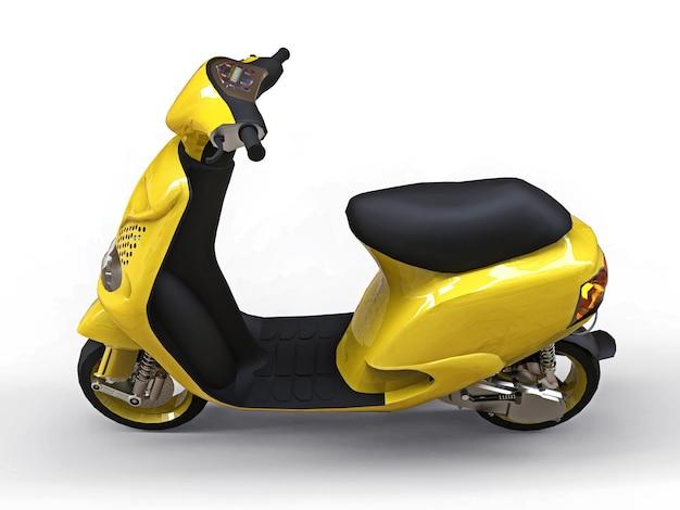Modernes städtisches gelbes moped auf einer weißen oberfläche