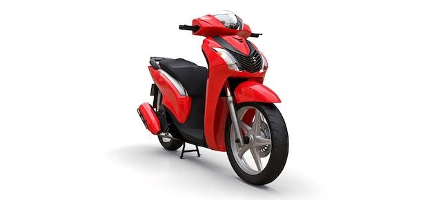 Modernes städtisches rotes moped auf weißem hintergrund. 3d-illustration.