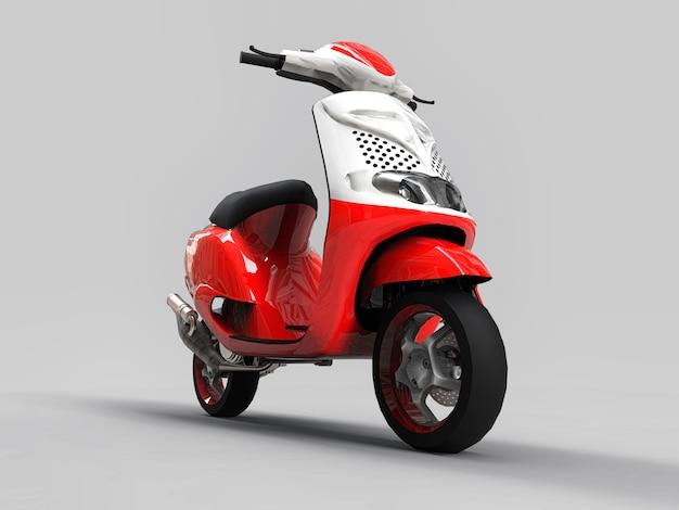 Modernes städtisches rotes und weißes moped auf einem hellgrauen hintergrund. abbildung 3d.